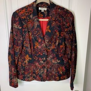 Coldwater Creek dark floral blazer 3 button sz 10
